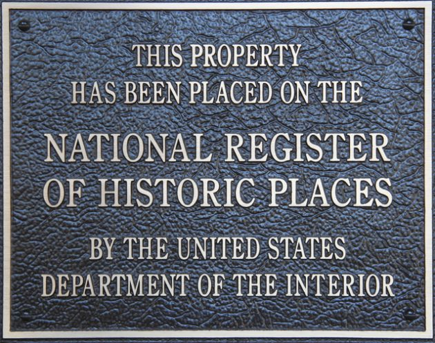 Plaque designation for property on the National Register of Historic Places.